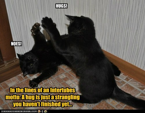 HUGS! NOES! In the lines of an Intertubes motto: A hug is just a strangling you haven't finished yet...