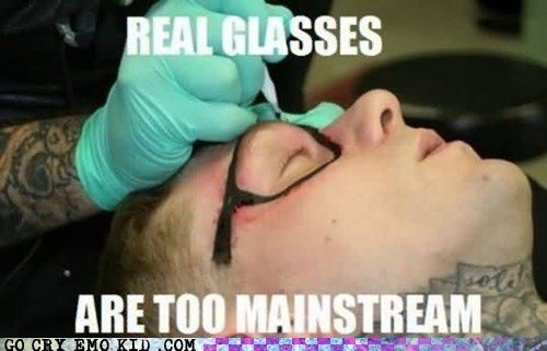 glasses hipsterlulz mainstream tattoo - 5548655872