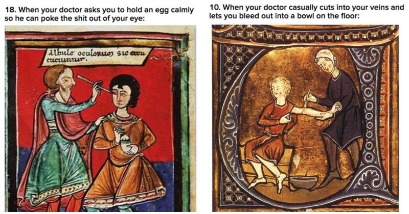 Funny medieval medical memes, medical memes, medieval memes, medieval art, medieval art memes, medieval health care, tapestries.