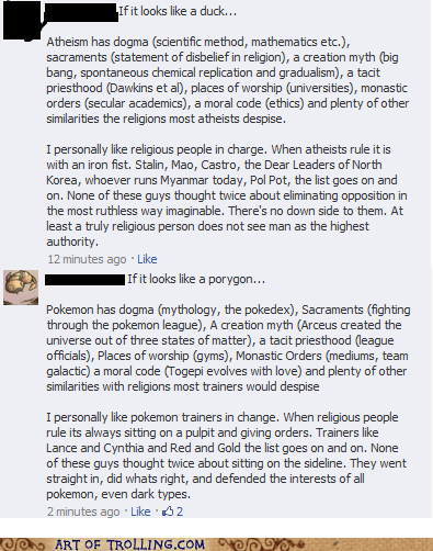 atheism,facebook,god,Pokémon,religion