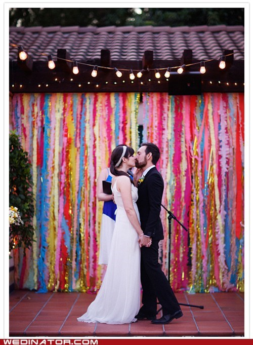 bride,funny wedding photos,groom,KISS,rainbow,streamers