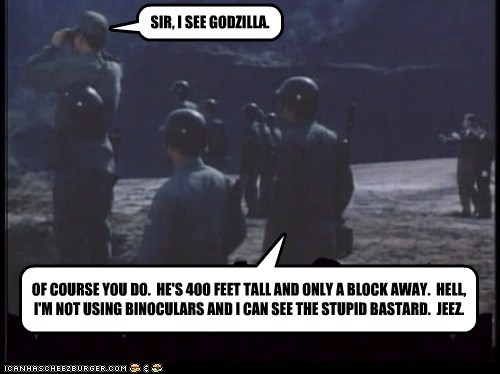 SIR, I SEE GODZILLA. OF COURSE YOU DO. HE'S 400 FEET TALL AND ONLY A BLOCK AWAY. HELL, I'M NOT USING BINOCULARS AND I CAN SEE THE STUPID BASTARD. JEEZ.