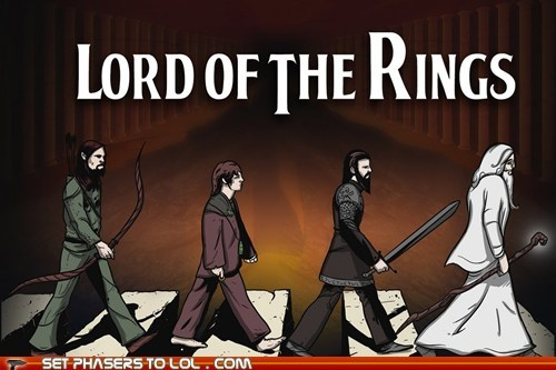 abbey road,aragorn,frodo,gandalf,legolas,Lord of the Rings,the Beatles