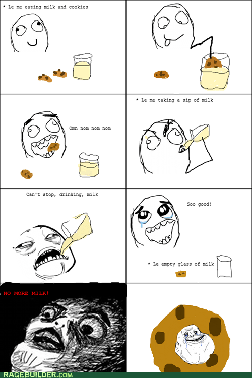 cookies forever alone milk Rage Comics - 5553613824