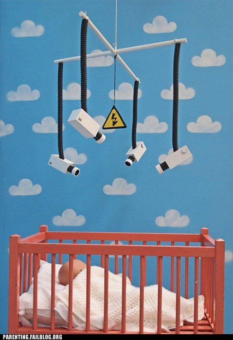 art banksy camera commentary crib Parenting Fail surveillance