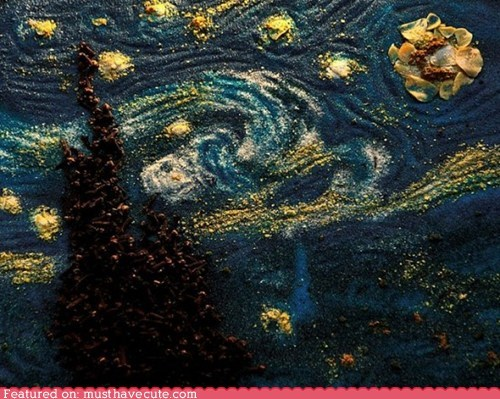art,edible,epicute,herbs,painting,spices,starry night,Van Gogh
