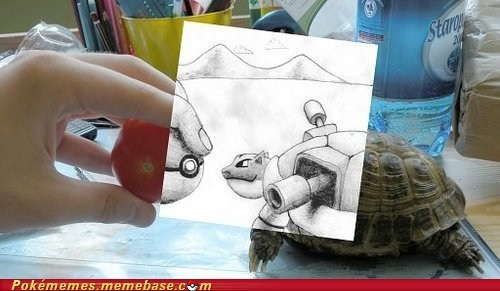 blastoise creativity drawing IRL photoshop pokeball superimposed tomato turtle