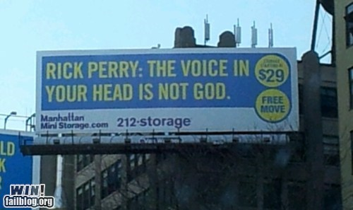 clever politics religion Rick Perry sign voice - 5554584832