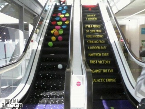 clever,design,escalator,g rated,nerdgasm,scrolling,star wars,temporarily stairs,win