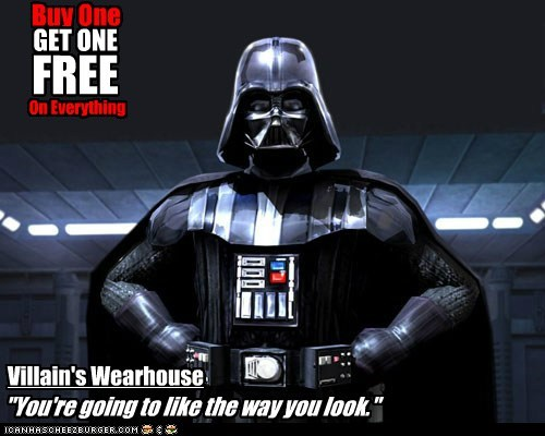 darth vader,mens wearhouse,slogan,star wars,villains