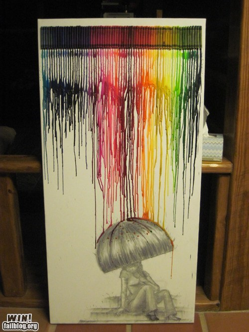 art,clever,colours,crayon,Drip,g rated,umbrella,wax,win