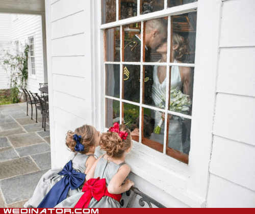 bride children flower girls funny wedding photos groom KISS marines military