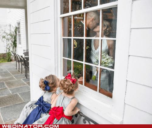 bride,children,flower girls,funny wedding photos,groom,KISS,marines,military