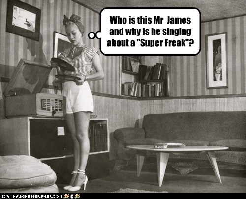 historic lols,Music,record,rick james,super freak,vintage,woman