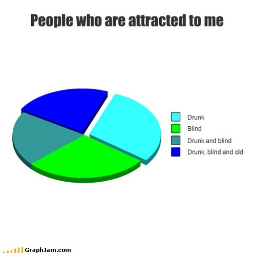 attraction,blind,drunk,old,Pie Chart,unattractive