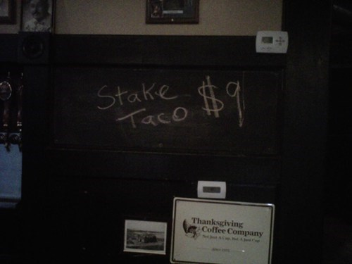 a lot at stake,food,misspelling,stake taco