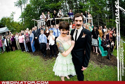 bride,funny wedding photos,groom,hipster,mustache