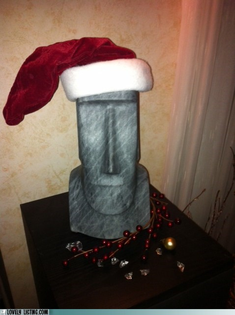christmas decor easter island santa hat - 5556276736