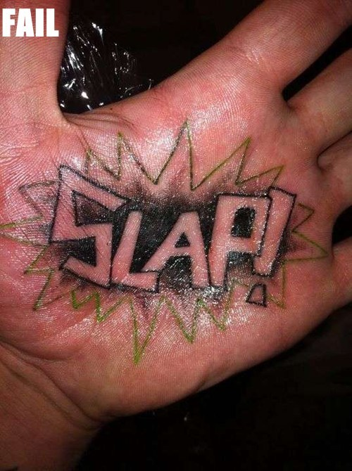 awesome hand palm permanent tattoos Ugliest Tattoos words - 5557143040