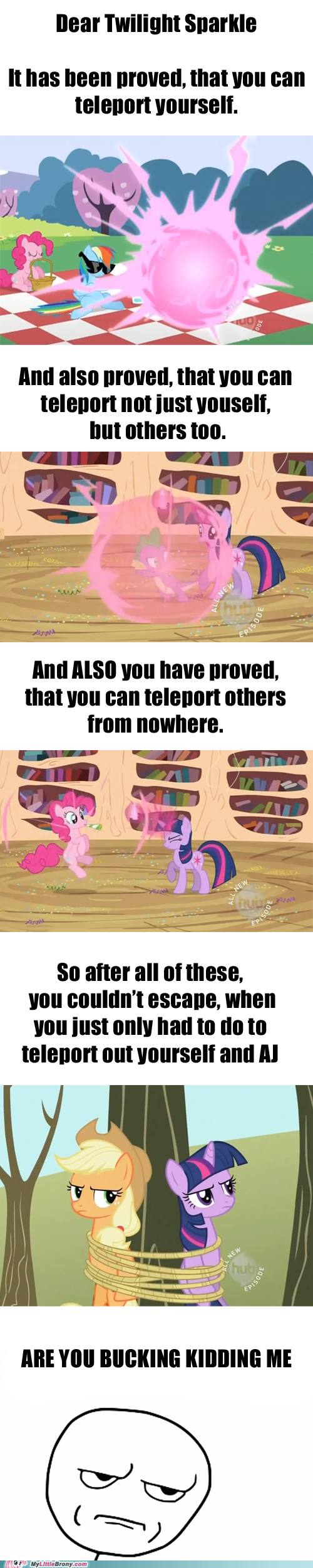 applejack bucking kidding me ponies teleport twilight - 5557398272