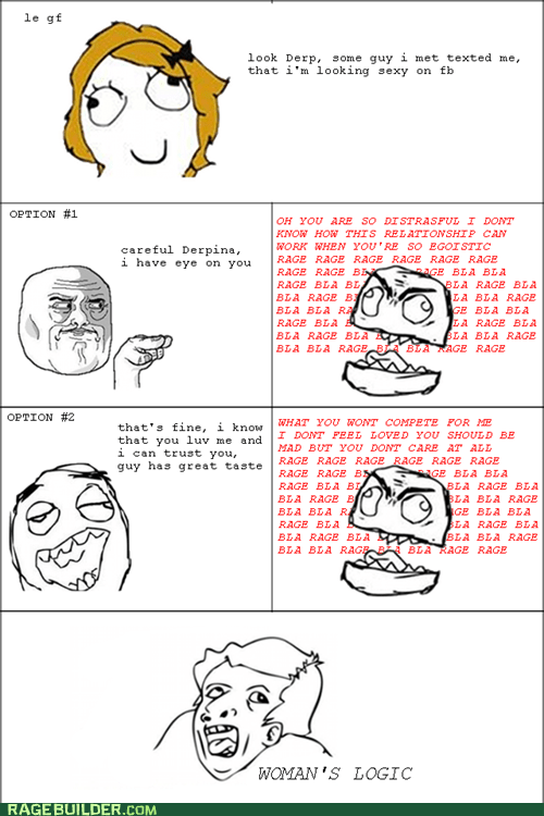 compliments Rage Comics relationships woman logic - 5557547520