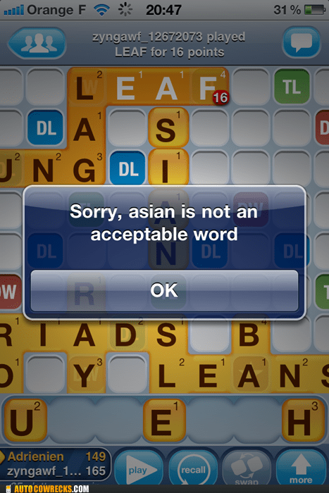 acceptable word,asian,racist,waisis,Words With Friends