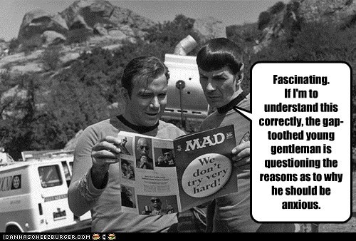 Leonard Nimoy,Mad Magazine,Shatnerday,Spock,Star Trek,what me worry,William Shatner