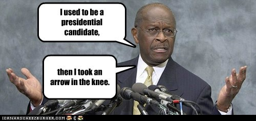 arrow in the knee,elder scrolls,election 2012,herman cain,political pictures,Skyrim