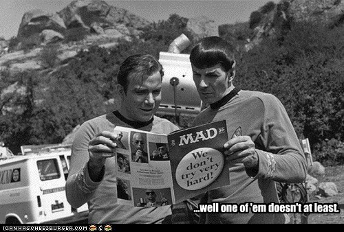 acting,Captain Kirk,Leonard Nimoy,Mad Magazine,Shatnerday,Spock,Star Trek,Try Harder,William Shatner