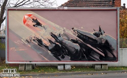 art billboard dogs escape graffiti hacked irl Street Art - 5559086336
