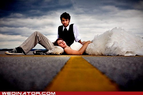 bride,funny wedding photos,groom,questionable,road,street