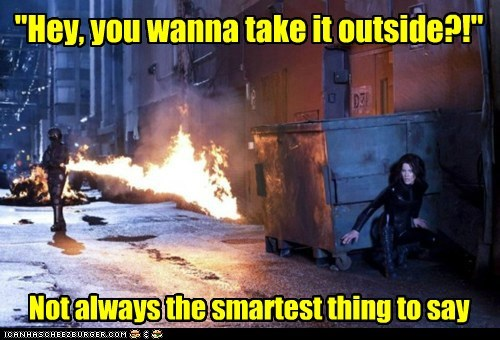 flamethrower,kate beckinsale,outside,smart,underworld