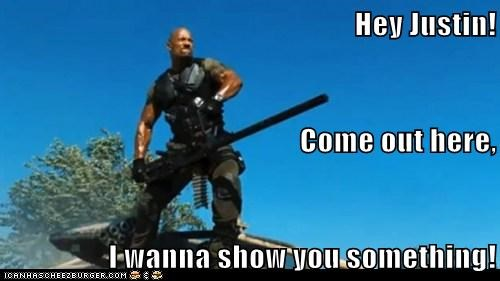 Dwayne Johnson,GI Joe,gun,justin bieber,the rock