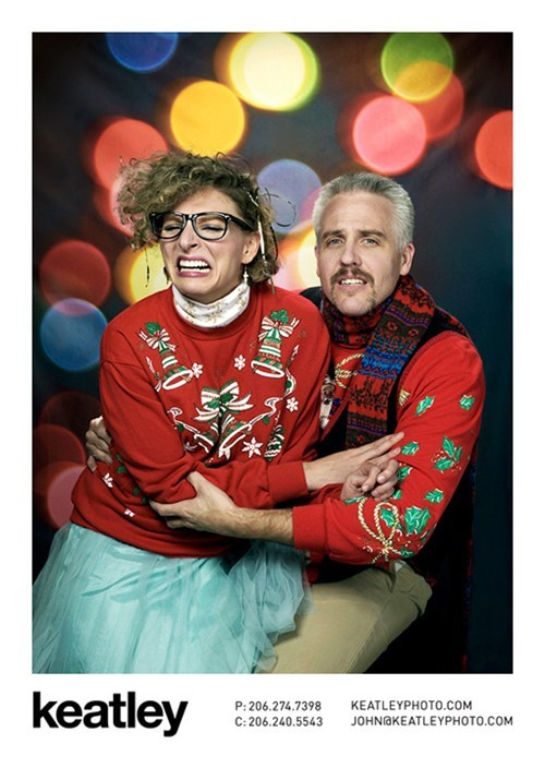 awkward photo,christmas,christmas sweater,couple,portrait