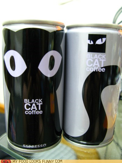 black can cat coffee logo package
