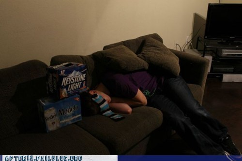 beer pong,couch,drunk,messing around,passed out,stacking