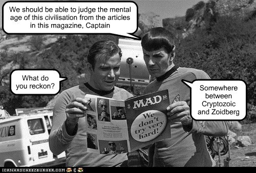 articles Captain Kirk civilation cryptozoic Leonard Nimoy Mad Magazine magazine quarentine Shatnerday Spock Star Trek William Shatner Zoidberg - 5561419776
