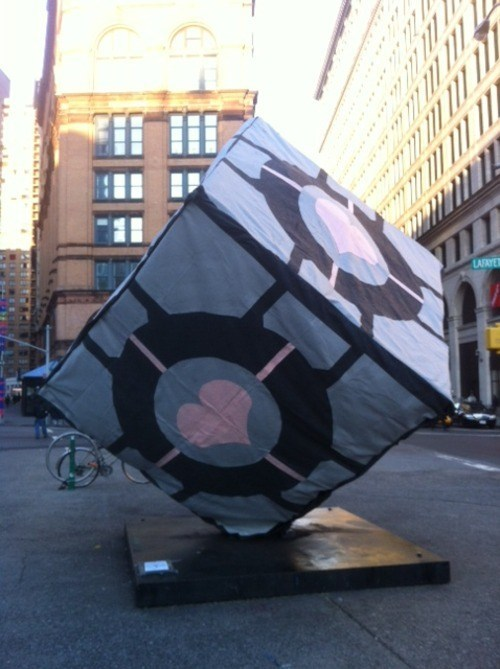 alamo,astor place,caltech,caltech prank club,companion cube,Nerd News,new york city,prank,video games