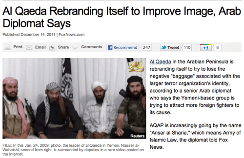 al qaeda marketing Probably bad News terrorism