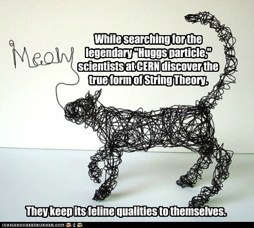 "While searching for the legendary ""Huggs particle,"" scientists at CERN discover the true form of String Theory. They keep its feline qualities to themselves."
