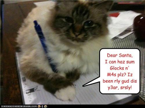 Dear Santa, I can haz sum Glocks n' M4s plz? Iz been rly gud dis y3ar, srsly!