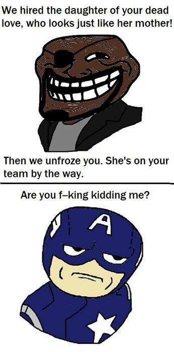 captain america,Nick Fury,Super-Lols,troll