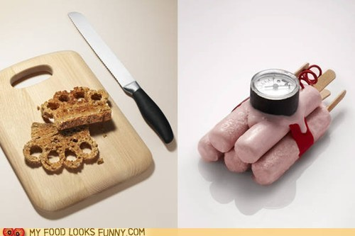 art,bomb,brass knuckles,food,hot dogs,scuplture,toast,weapons