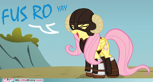 best of week,crossover,fluttershy,fus ro dah,video game