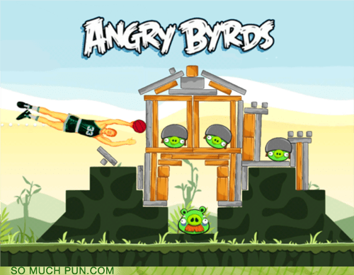 angry birds,basketball,double meaning,game,homophone,juxtaposition,larry bird,literalism,replacement,shoop
