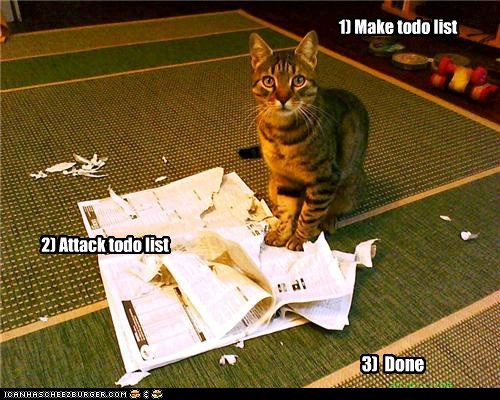 1) Make todo list 2) Attack todo list 3) Done