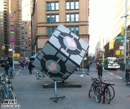 companion cube,cube,hacked irl,Portal,prank,video games