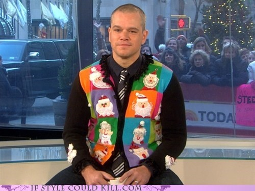 celeb,christmas,cool accessories,matt damon,vest