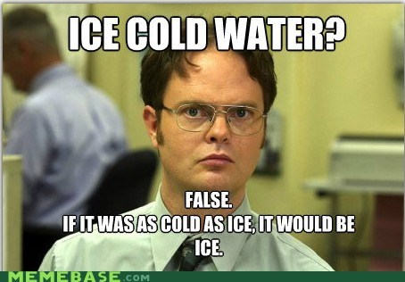 cold,dwight,facts,false,ice,Memes,water