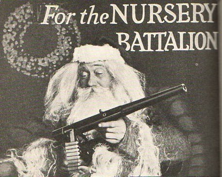 guns,presents,retro,santa,vintage,war